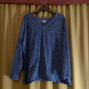 Blue spotted long sleeve cotton top